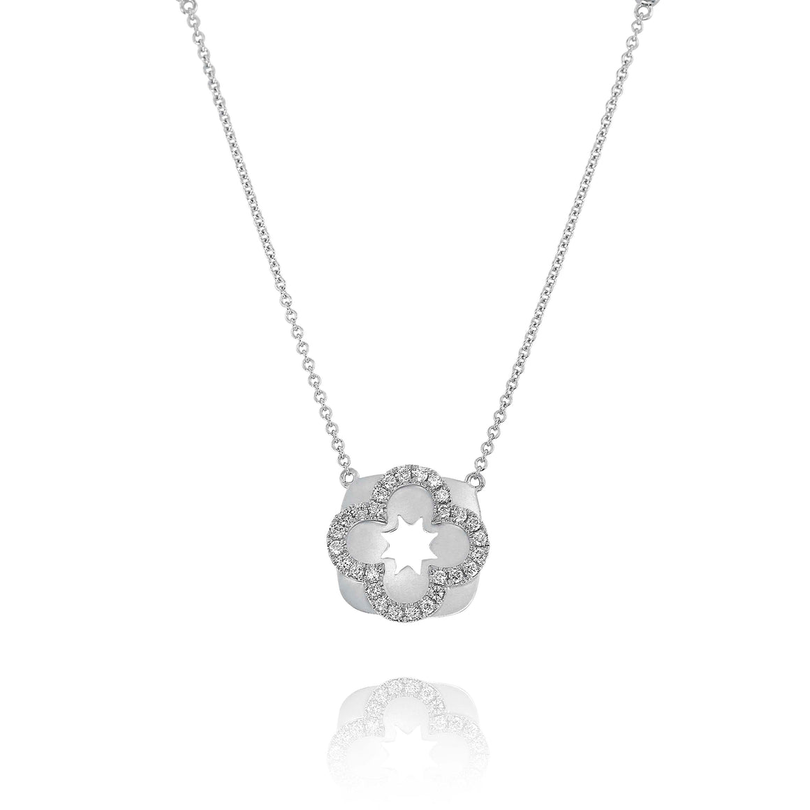 Yael 14k White Gold Diamond Flower Necklace