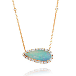 Pear-Shaped White Opal Necklace by Yael - Rose Gold