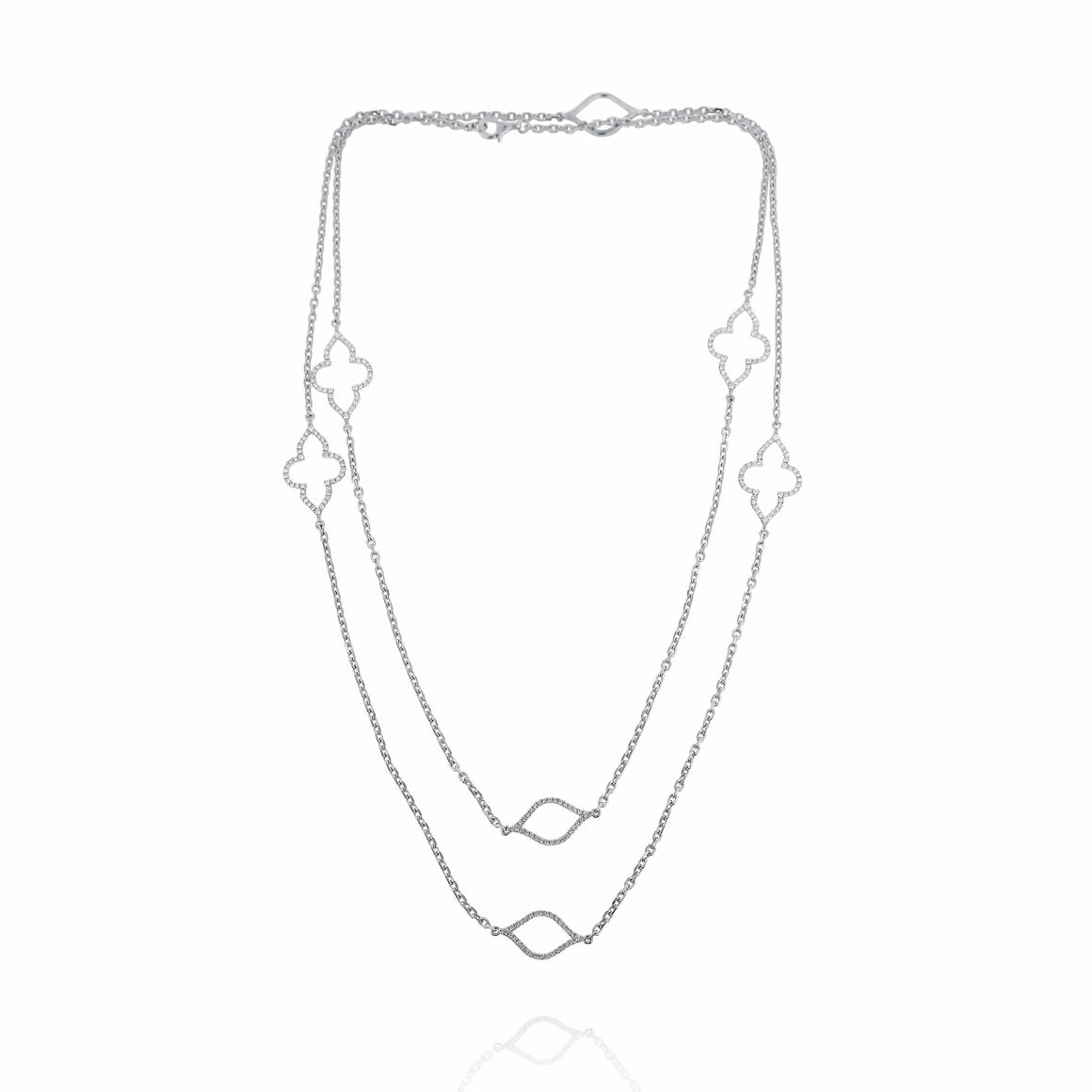 Yael 14k White Gold Layered Diamond Necklace
