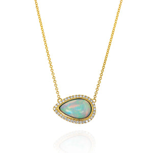 Yael 18k Yellow Gold Pear-Shaped White Opal Necklace