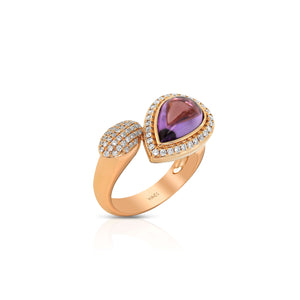 Yael 18k Rose Gold, Pear Amethyst and Diamond Ring