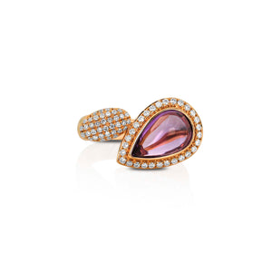 Pear-Shaped Amethyst and Diamond Ring by Yael - Talisman Collection Fine Jewelers