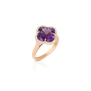 Yael 18k Rose Gold Flower Amethyst and Diamond Ring