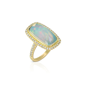 Yael 18k Yellow Gold, Opal and Diamond Ring
