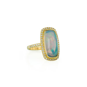 Rectangular Opal and Diamond Ring by Yael - Yellow Gold - Talisman Collection Fine Jewelers