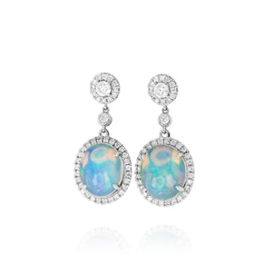 Opal and Diamond Drop Earrings by Yael - White Gold - Talisman Collection Fine Jewelers