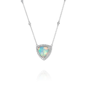 Yael 18k White Gold Opal Trillion and Diamond Necklace