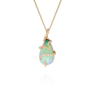 Yael 18k Rose Gold Diamond Opal Pendant