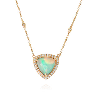 Trillion-Shaped Opal and Diamond Necklace by Yael - Yellow Gold - Talisman Collection Fine Jewelers