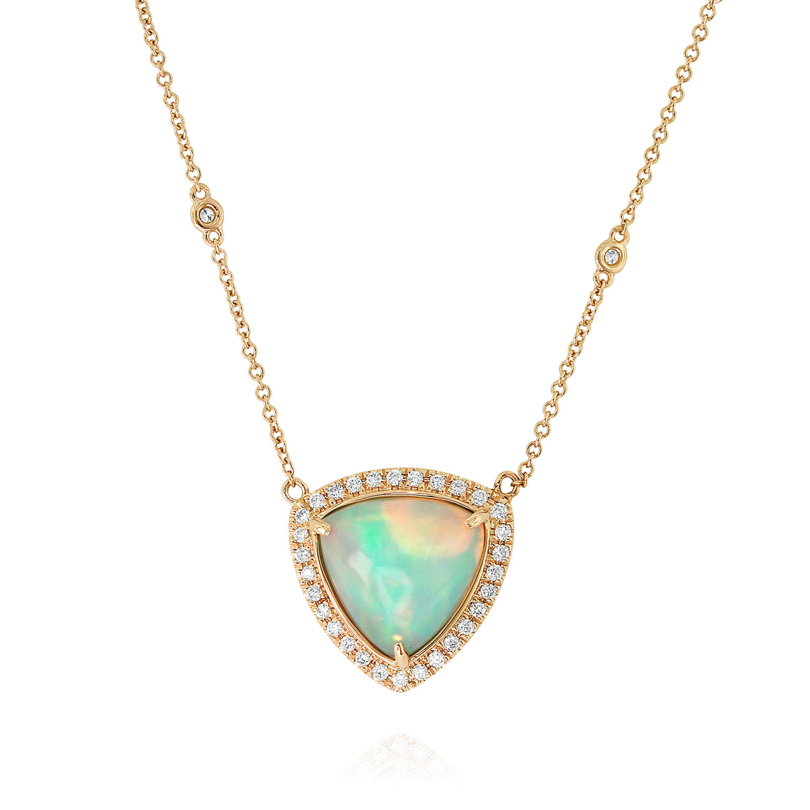 Yael 18k Yellow Gold, Opal and Diamond Necklace