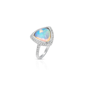 Yael 18k White Gold, Trillion-Cut Opal and Diamond Ring