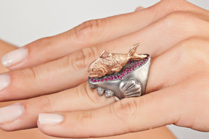 Piranha 18k Ruby and Diamond Ring by Atelier Minyon - Talisman Collection Fine Jewelers