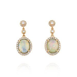 Opal and Diamond Drop Earrings by Yael - Rose Gold - Talisman Collection Fine Jewelers