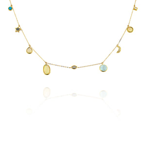 Yael 18k Diamond, Opal, Aquamarine, and Turquoise Necklace