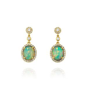 Yael 18k Yellow Gold Opal and Diamond Earrings