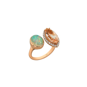Yael 18k Rose Gold Moi et Toi Opal, Morganite and Diamond Ring