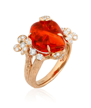 Yael 18k Rose Gold Fire Opal and Diamond Ring