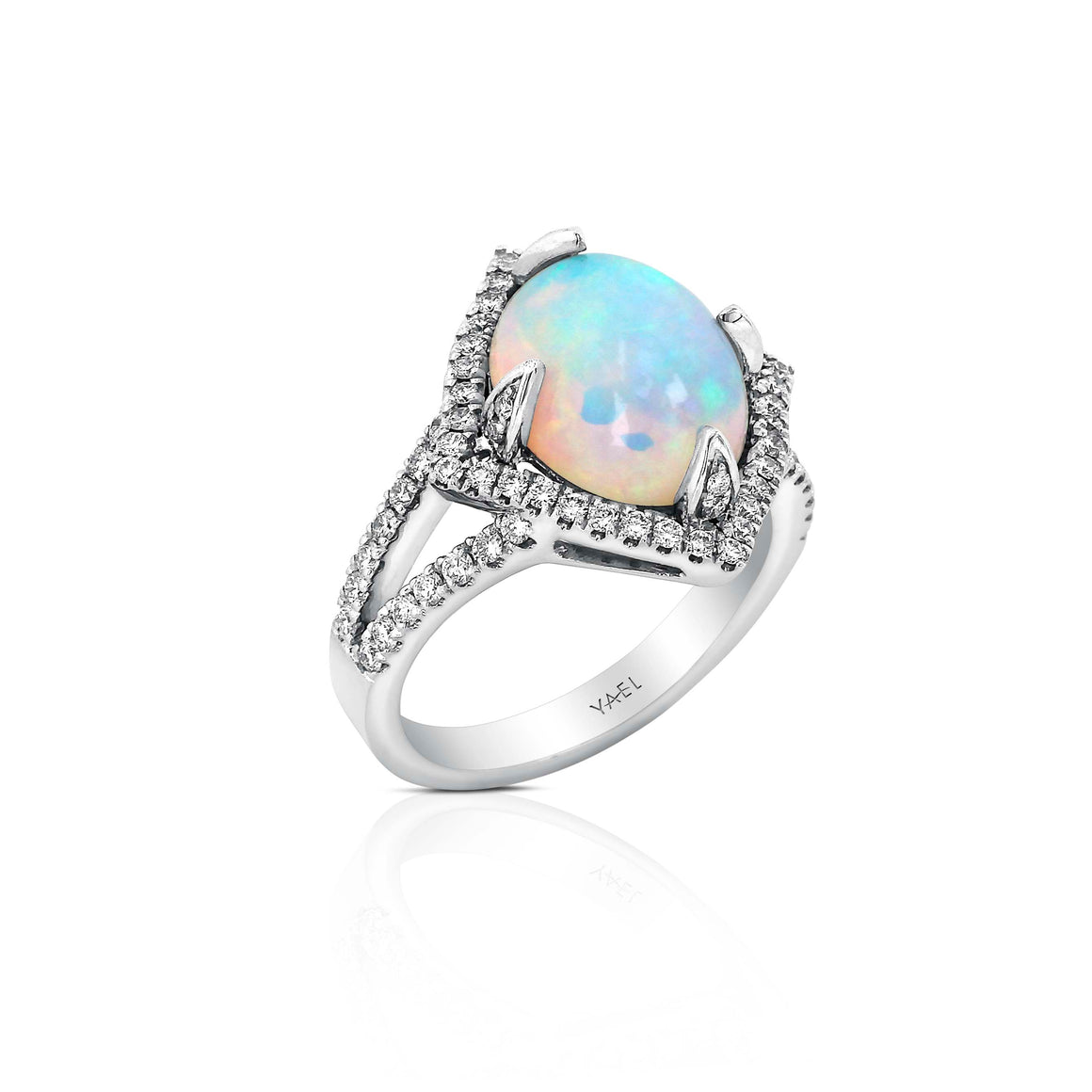 Yael 18k White Gold, Opal and Diamond Ring
