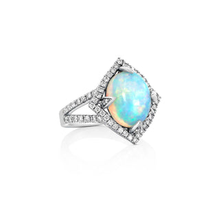 Opal and Diamond Ring by Yael - White Gold - Talisman Collection Fine Jewelers