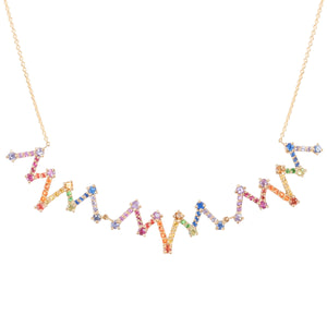 Fancy Colored Sapphire and Tsavorite Rainbow Accordion Necklace - Talisman Collection Fine Jewelers