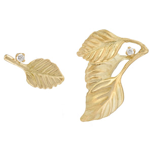 Asymmetrical Gold Leaf Earrings by Manya & Roumen - Talisman Collection Fine Jewelers
