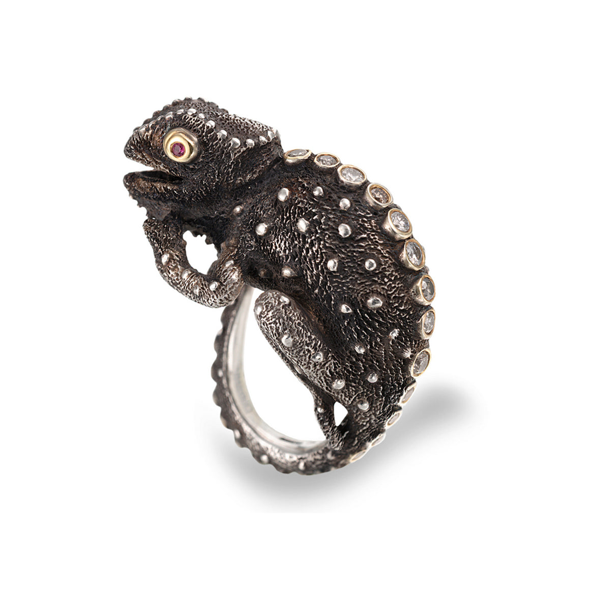Black Chameleon Ring by Manya & Roumen - Talisman Collection Fine Jewelers