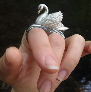 Floating Swan Ring by Manya & Roumen - Talisman Collection Fine Jewelers