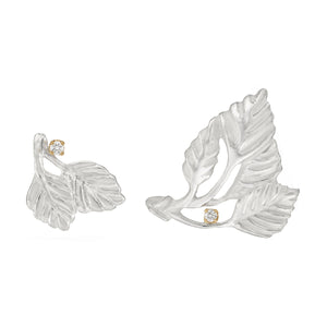 Asymmetrical Silver Leaf Earrings by Manya & Roumen - Talisman Collection Fine Jewelers