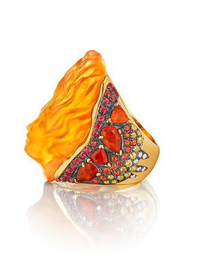 Carved Citrine, Sapphire and Diamond Mythology Collection Persephone Ring by MadStone - Talisman Collection Fine Jewelers