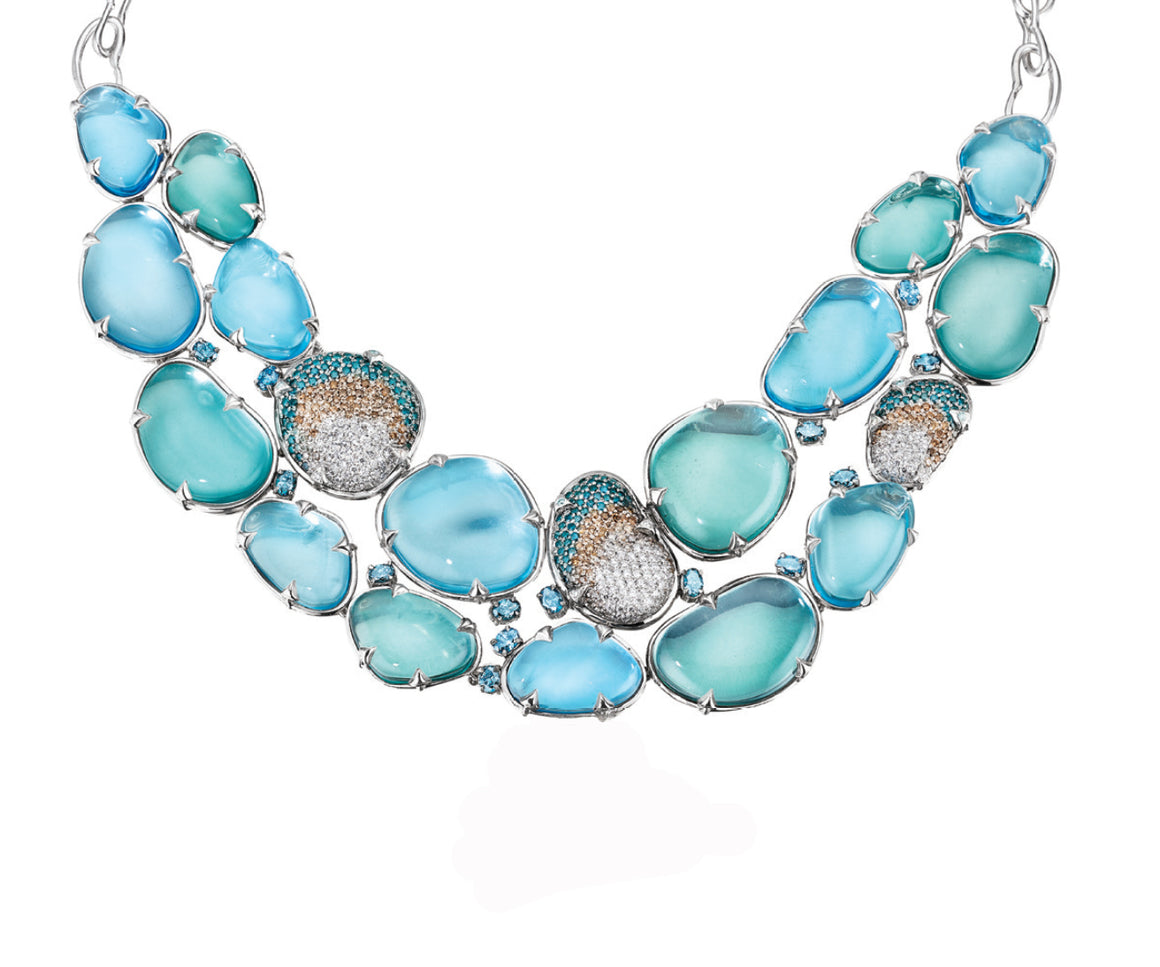 MadStone Poseidon Blue Topaz Necklace in 18k White Gold - Talisman Collection