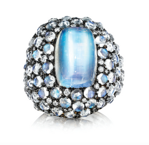 Blue Moonstone and Diamond Mythology Collection Selene Ring by MadStone - Talisman Collection Fine Jewelers