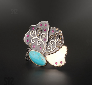 Flower Turquoise and Ruby Ring by Margisa - Talisman Collection Fine Jewelers