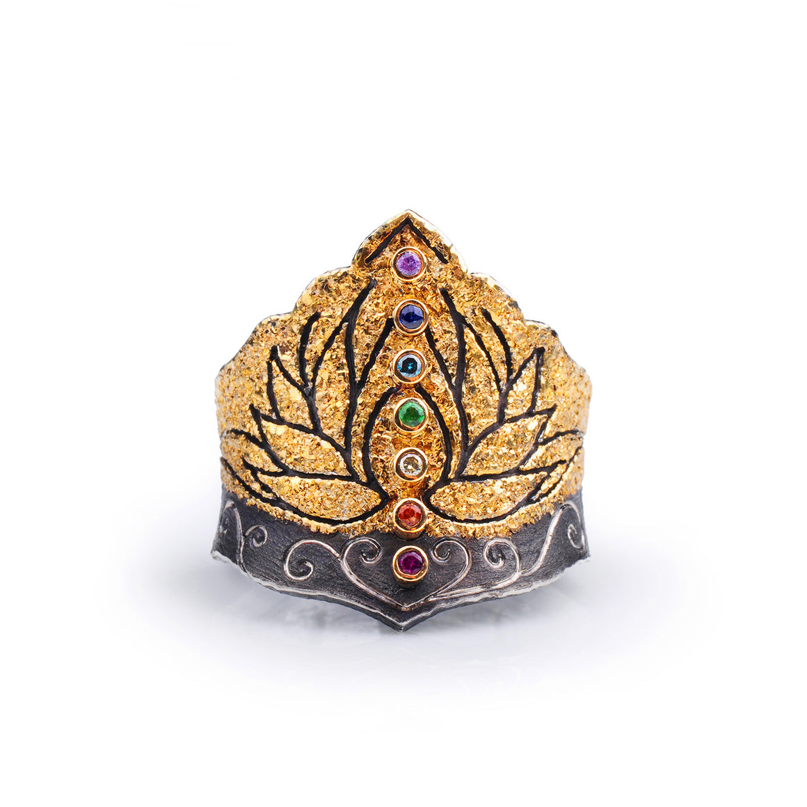 Lotus Rainbow Gemstone Ring by Margisa - Talisman Collection Fine Jewelers