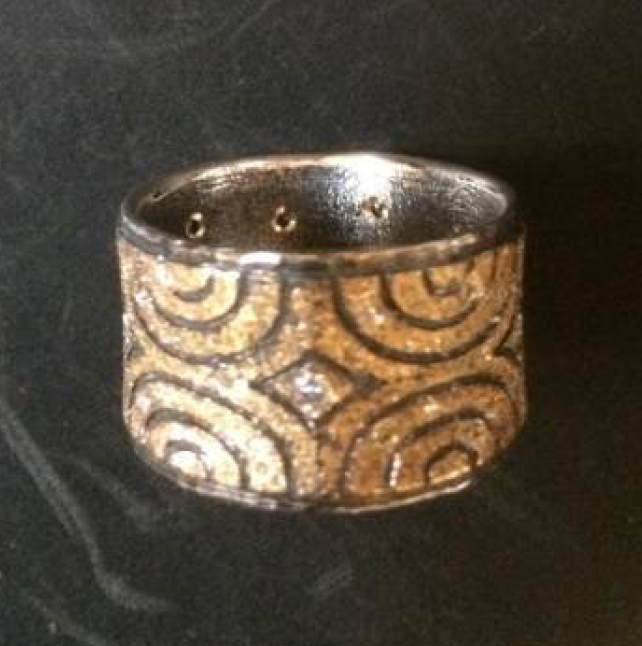 "Margisa ""New York"" Sterling Silver and 18k Diamond Band"