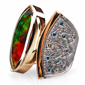 Marrakesh Ethiopian Black Opal and Diamond Ring by Margisa - Talisman Collection Fine Jewelers