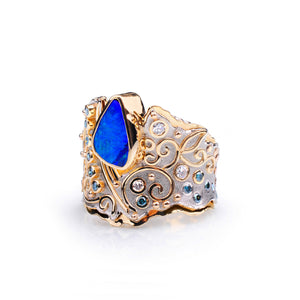 Golden Orchid Opal and Diamond Ring by Margisa - Talisman Collection Fine Jewelers