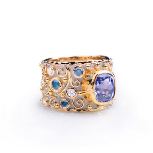 Talisman Ceylon Sapphire and Diamond Ring by Margisa - Talisman Collection Fine Jewelers