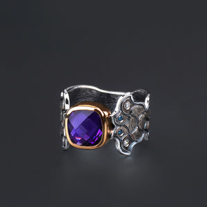Barcelona Amethyst and Diamond Ring by Margisa - Talisman Collection Fine Jewelers