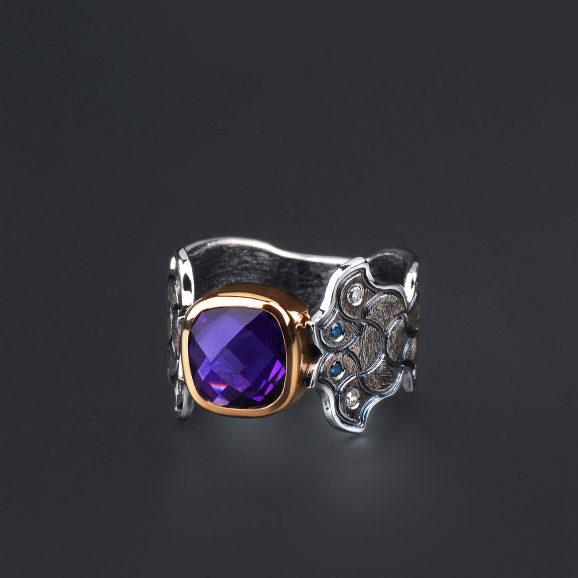 """Barcelona"" Amethyst and Diamond Ring by Margisa"