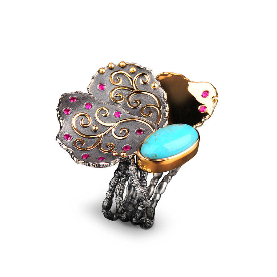"Margisa ""Flower"" Turquoise and Ruby Ring"