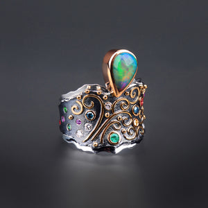 Fountain Opal, Blue Diamond, Ruby, and Sapphire Ring by Margisa - Talisman Collection Fine Jewelers
