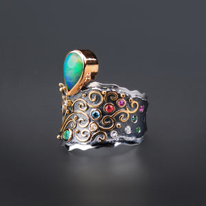 "Margisa Opal ""Fountain"" Blue Diamond, Ruby, and Sapphire Ring"