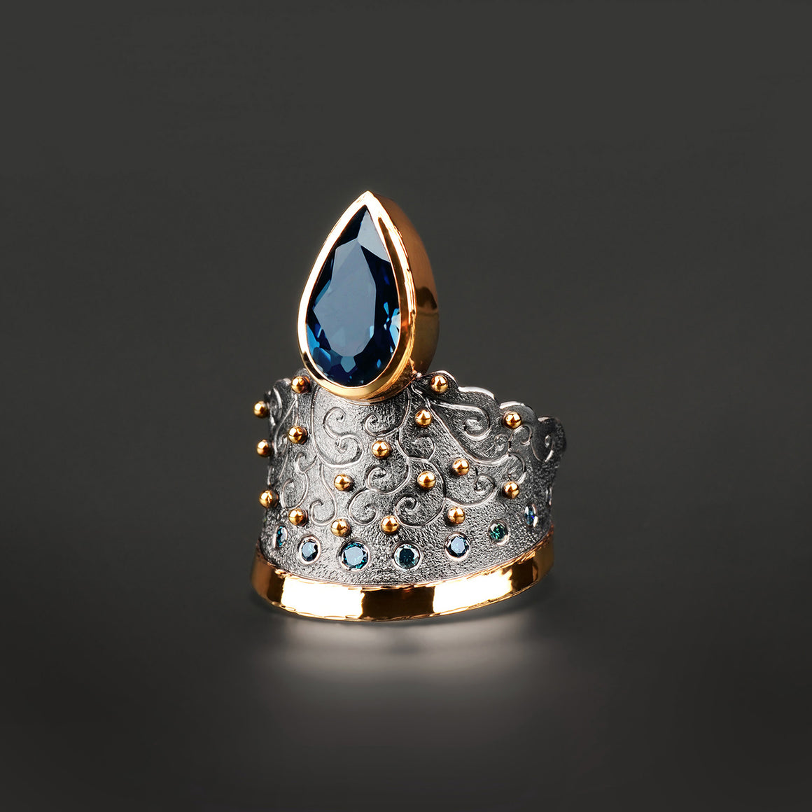 Petersburg London Blue Topaz and Diamond Ring by Margisa - Talisman Collection Fine Jewelers