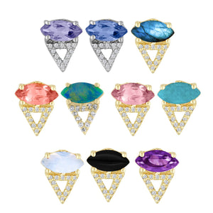 Marquise Gemstone and Shadow Diamond Triangle Studs by Eden Presley - Talisman Collection Fine Jewelers