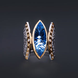 Marrakesh Swiss Blue Topaz and Diamond Ring by Margisa - Talisman Collection Fine Jewelers