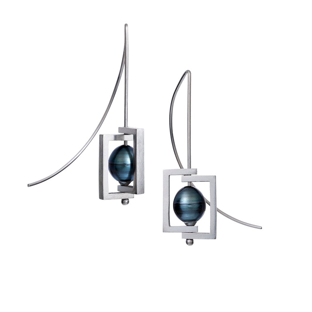 argentium silver tahitian pearl square earrings