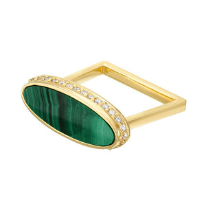 Malachite and Diamond Halo Signet Ring by DRU. - Talisman Collection Fine Jewelers