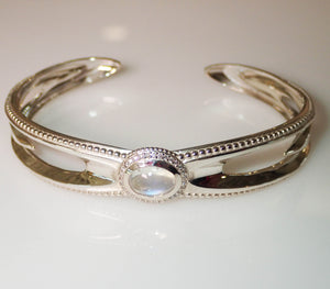 """Water Drop"" Moonstone and Diamond Cuff Bracelet by Geoff Thomas - Talisman Collection Fine Jewelers"