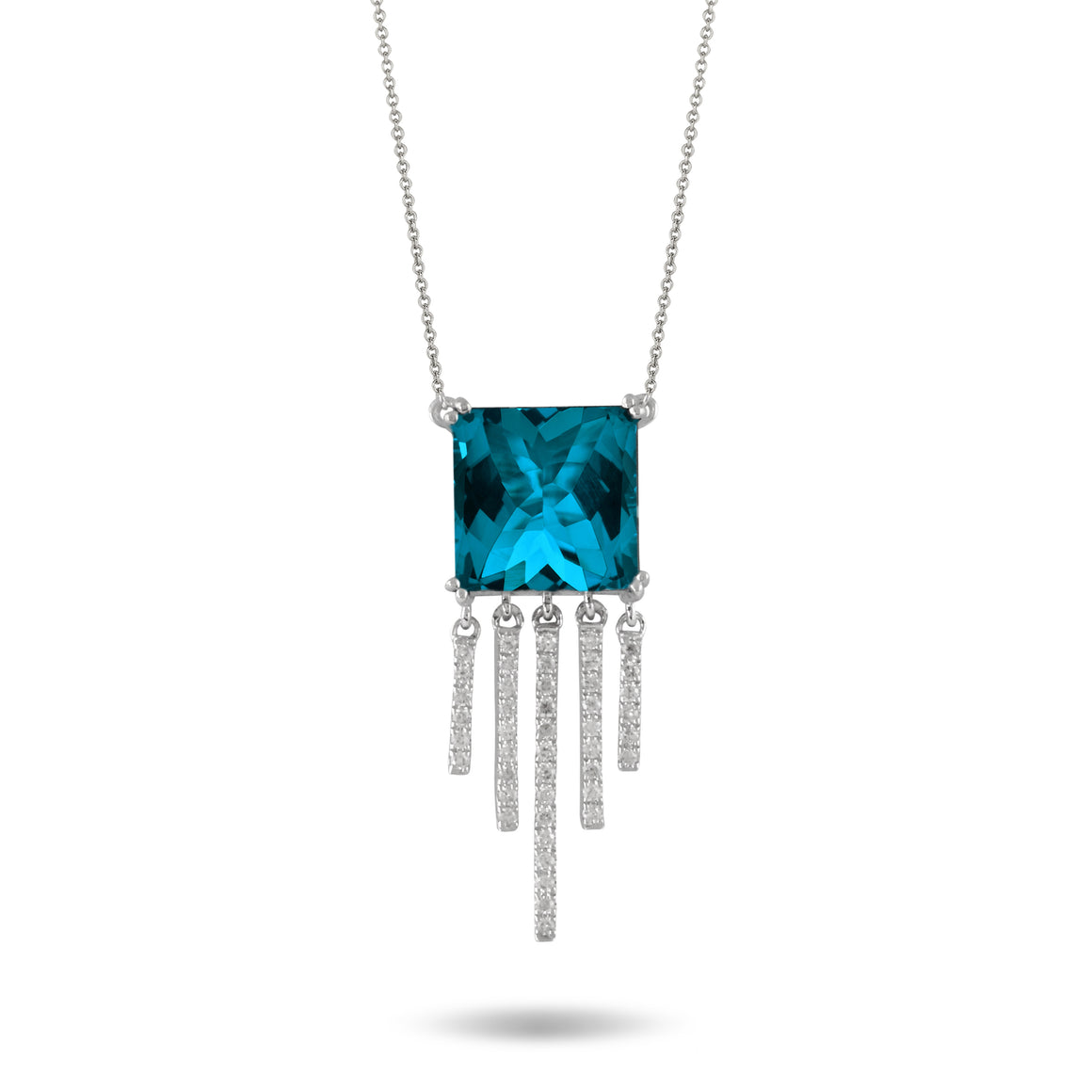 18k White Gold London Blue Topaz and Diamond Fringe Necklace