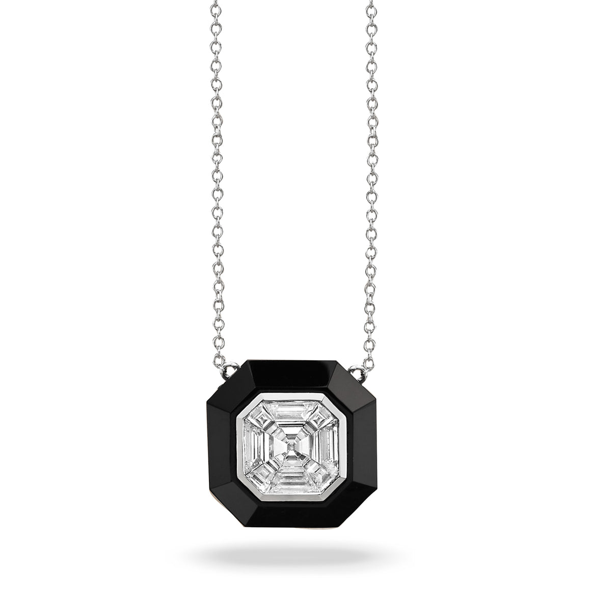Mondrian Black Onyx and Diamond Necklace by Doves - Talisman Collection Fine Jewelers